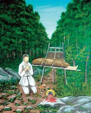 김대건 성인 시신을 수습하는 이민식-02-조창원 바오로-미리내 뒷산에 도착, 감사기도를 올리는 이민식-01.jpg