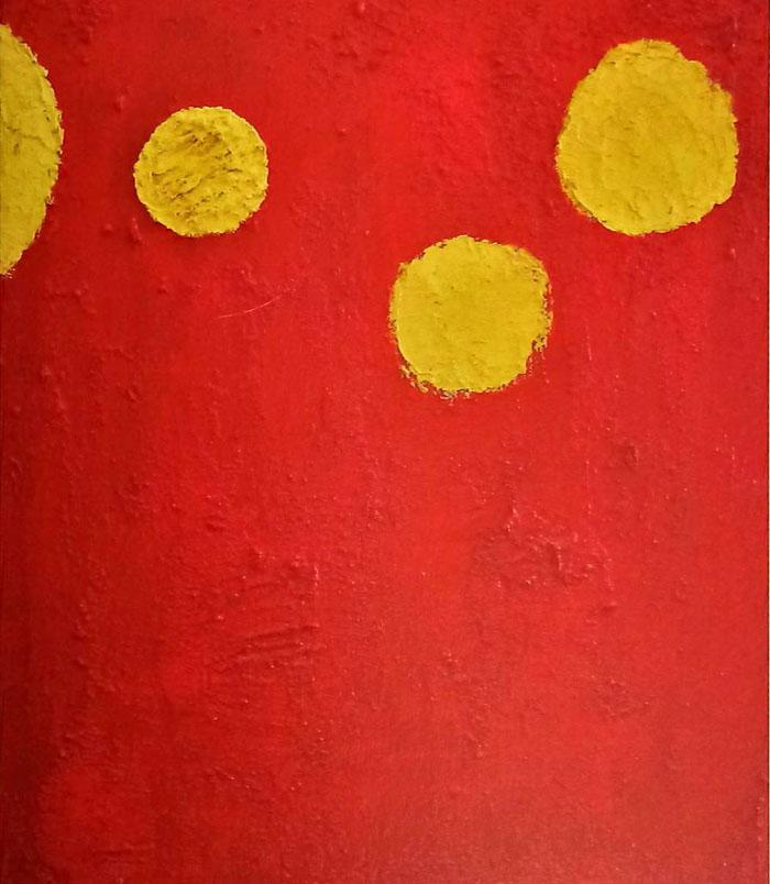 다홍 치마와 노랑 저고리 - 최이숙 Mixed media on canvas 46cm x 53cm-01.jpg